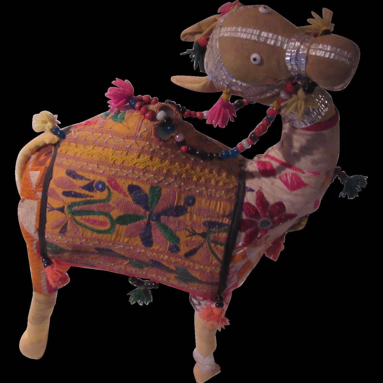 Textile India or Middle Eastern Animal Embroidered Cotton Shisha Mirrors Handmade Folk Art