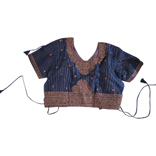 Choli Blouse India Traditional Costume Metal Embroidery