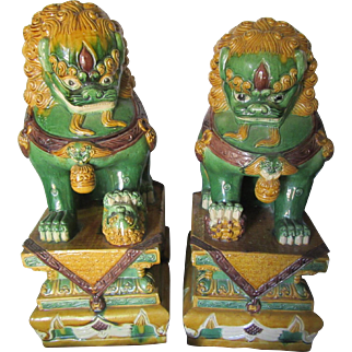 Large Old Foo Dogs Statues Oriental Pottery True Pair Chinese Good Luck Protection