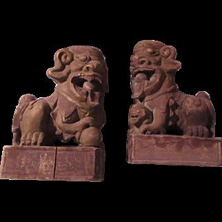 Pair Old Wood Foo Dogs Large Oriental Statues