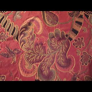 Dark Melon Tapestry Vintage Fabric Green Black Flowers 54X50