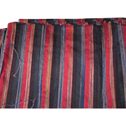 Black Red Green Multi Stripe Pure Silk vintage Dupioni Fabric 6+ Yards