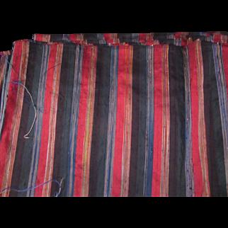 Black Red Green Multi Stripe Pure Silk vintage Dupioni Fabric 6+ Yards