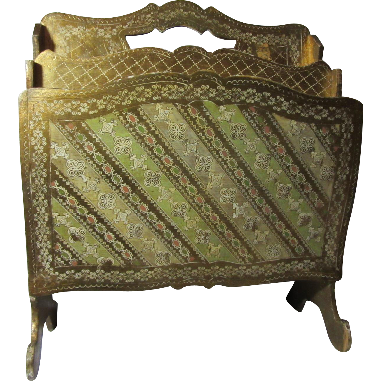 Italian Florentine Gold Gilt Hand Painted Large Magazine Rack