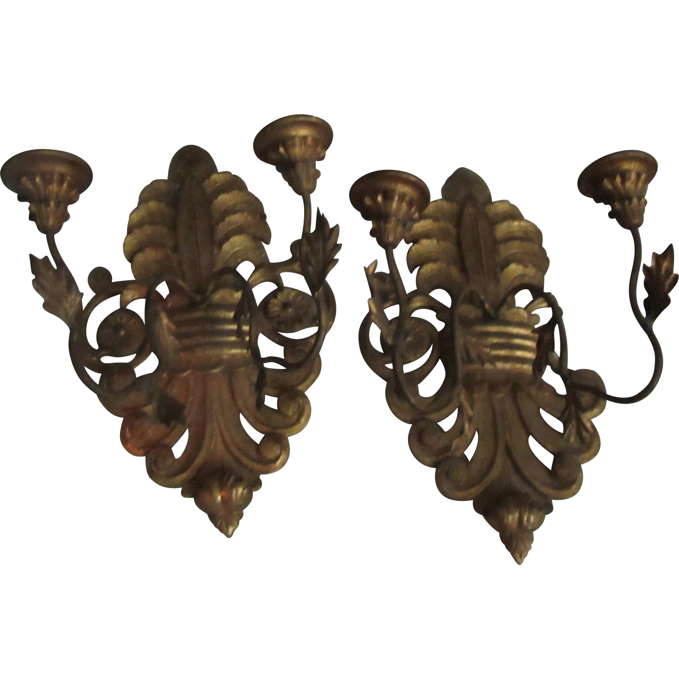 Pair Italian Florentine Large Gold Gilt Sconces