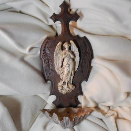 Holy Water Font French Pipe Clay Angel With Shell Carved Wood
