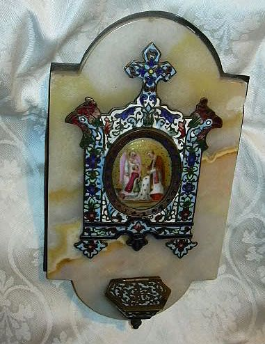Antique Champleve Onyx & Hand Painted Porcelain Holy Water Font Communion
