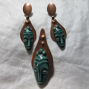 Copper & Green Ceramic Alien Faces Pin & Earring Set