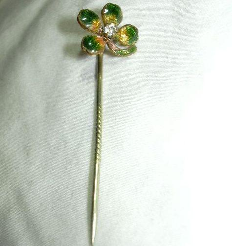 Enamel Four Leaf Clover Stickpin Pin