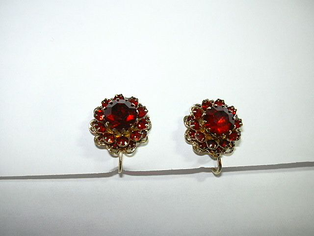Red Rhinestone Sarah Coventry Clip Earrings