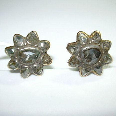 18K Gold Rose Cut Diamond Pierced Earrings