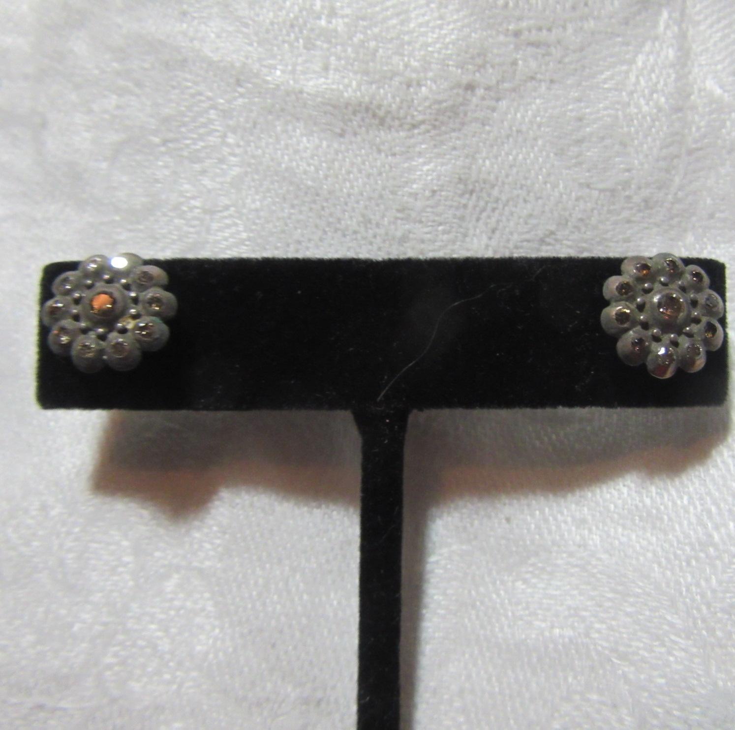 14K Gold Rose Cut Diamond Pierced Earrings