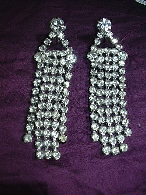 Old Rhinestone Screw Back Earrings With Elegant Dangles