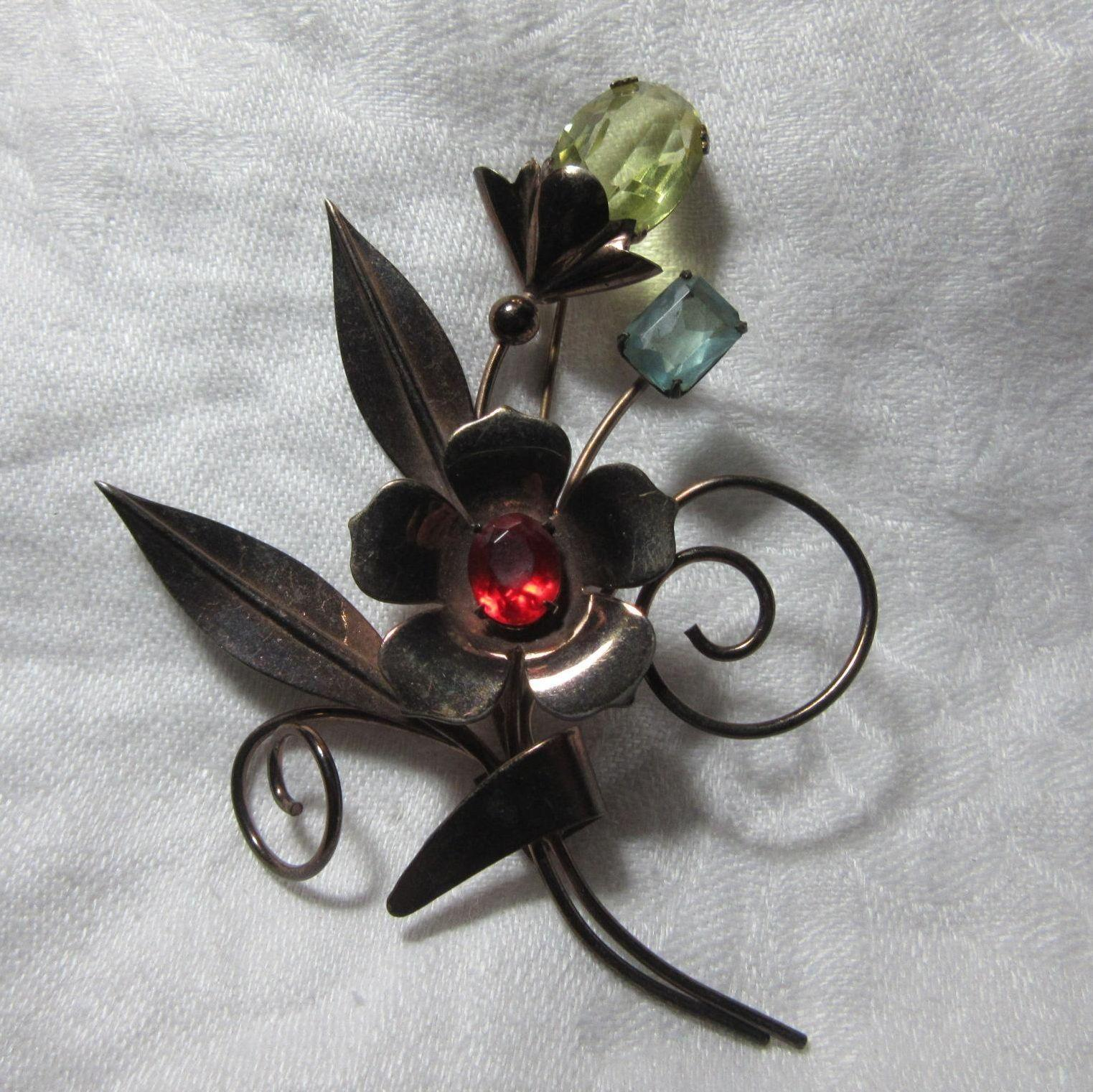 Large Gold Wash Sterling Flower Brooch