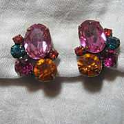 Hot Colors  Rhinestone Clip Earrings