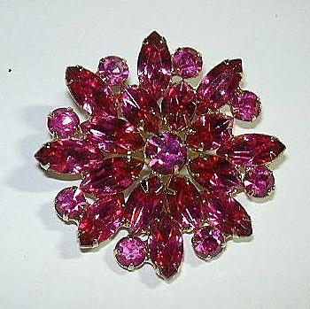 Rare Hot Pink Rhinestone Brooch Pin