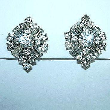 Kramer Rhinestone Clip Earrings