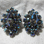 Vintage Blue Aurora Rhinestone Clip Earrings