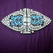 Coro Duette Rhinestones & Aqua Blue Rhinestones Brooch