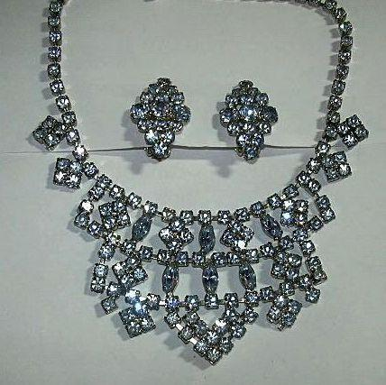 Blue Rhinestone Necklace & Earring Set