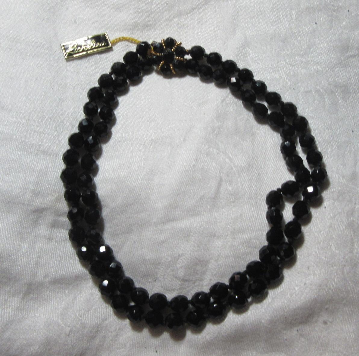 Old Richelieu Black Glass Beads Necklace