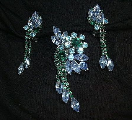 Blue & Green Rhinestone Pin Earring Set