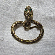 14K Gold Snake Serpent PIn Ruby Emerald Eyes