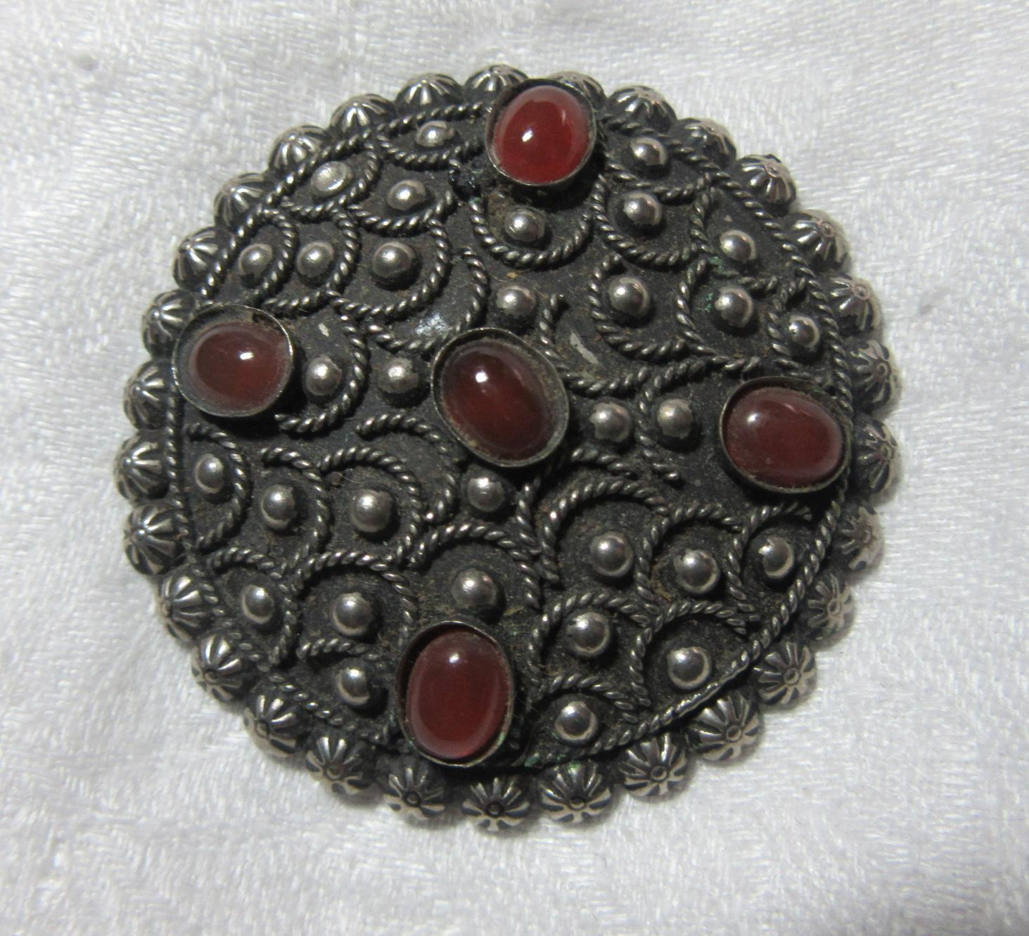Sterling Silver Carnelian Ornate Brooch Pin Fine Costume Jewelry