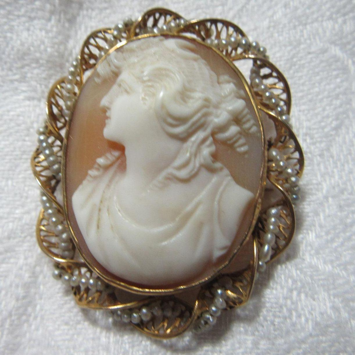 Antique Cameo Brooch 10K Gold & Seed Pearls Fine Jewelry