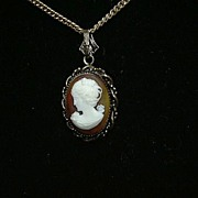 Old Cameo Pendant Necklace