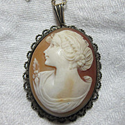 Old Shell Cameo Pendant In 800 Silver Mounting Fine Jewelry