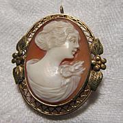 10K Gold Shell Cameo Brooch  Pendant Fine Jewelry