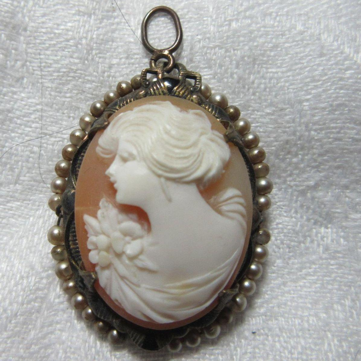Rare Left Facing Carved Shell Cameo