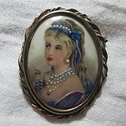 Limoges Hand Painted Lady Portrait Brooch Miniature Art
