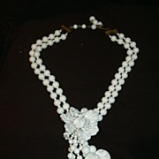 Miriam Haskell White Milk Glass Draped Necklace Beads