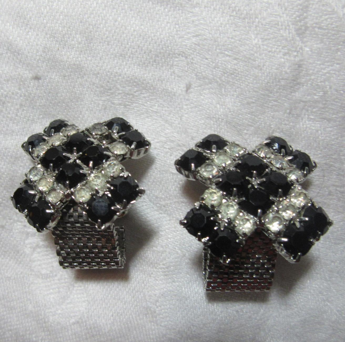 Black & Rhinestone Large Cuff Links