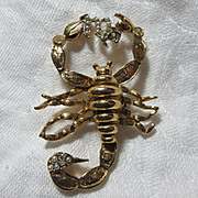 Scorpion PIn Ma In Faux Pearls Scorpio