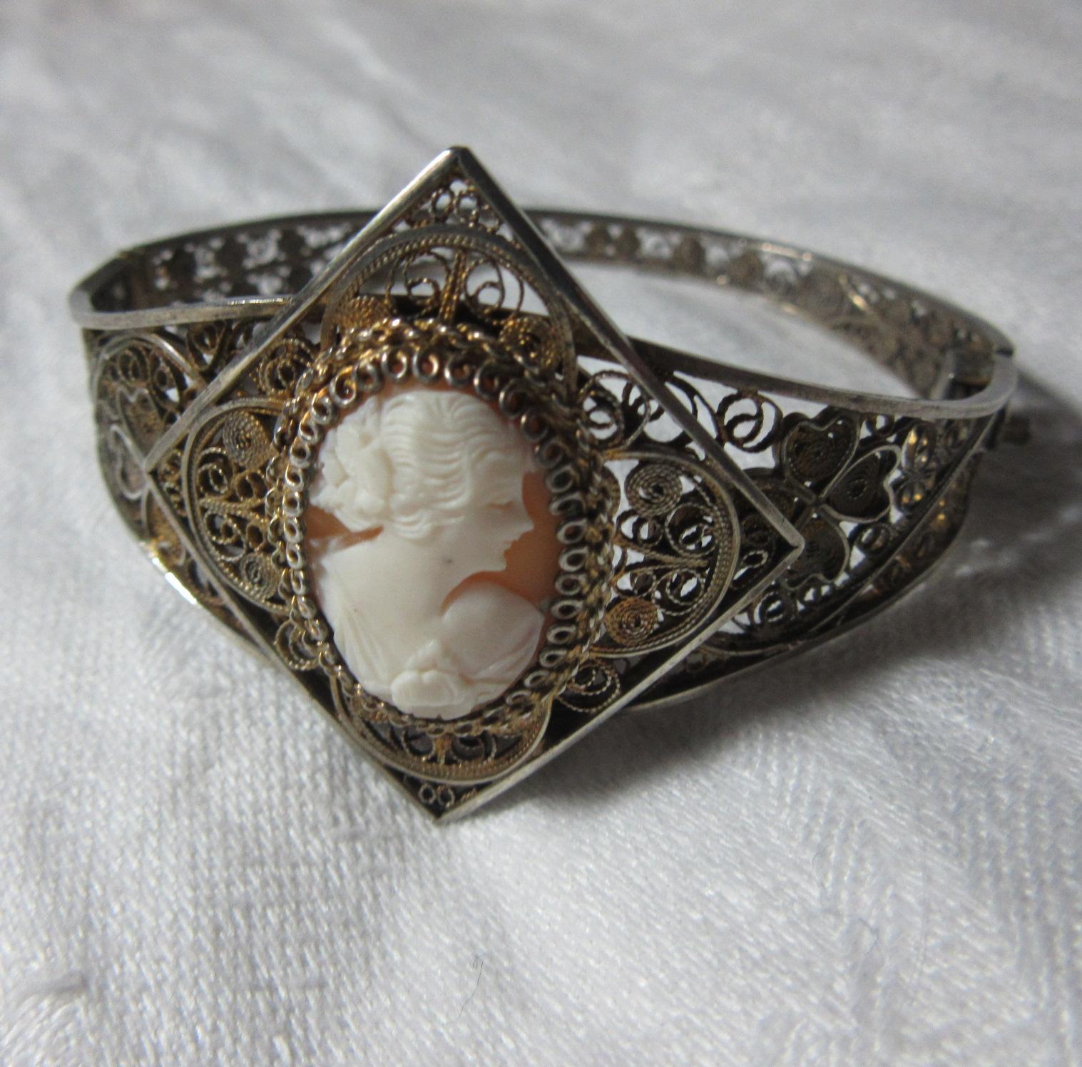 800 Silver Filigree Cameo Carved Shell Bracelet Fine ...