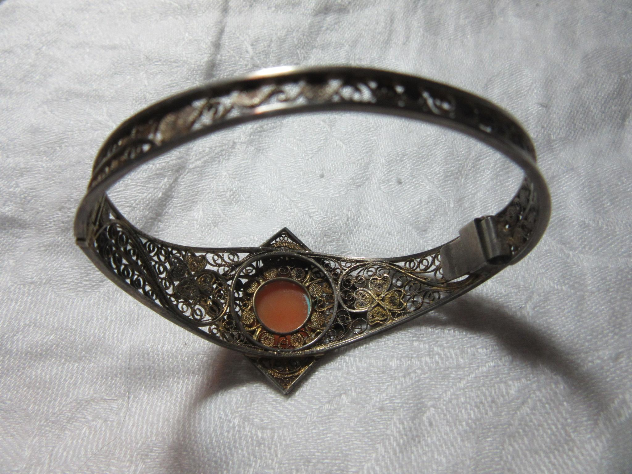800 Silver Filigree Cameo Carved Shell Bracelet Fine jewelry from ...
