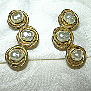 Miriam Haskell Faux Pearl Clip Earrings