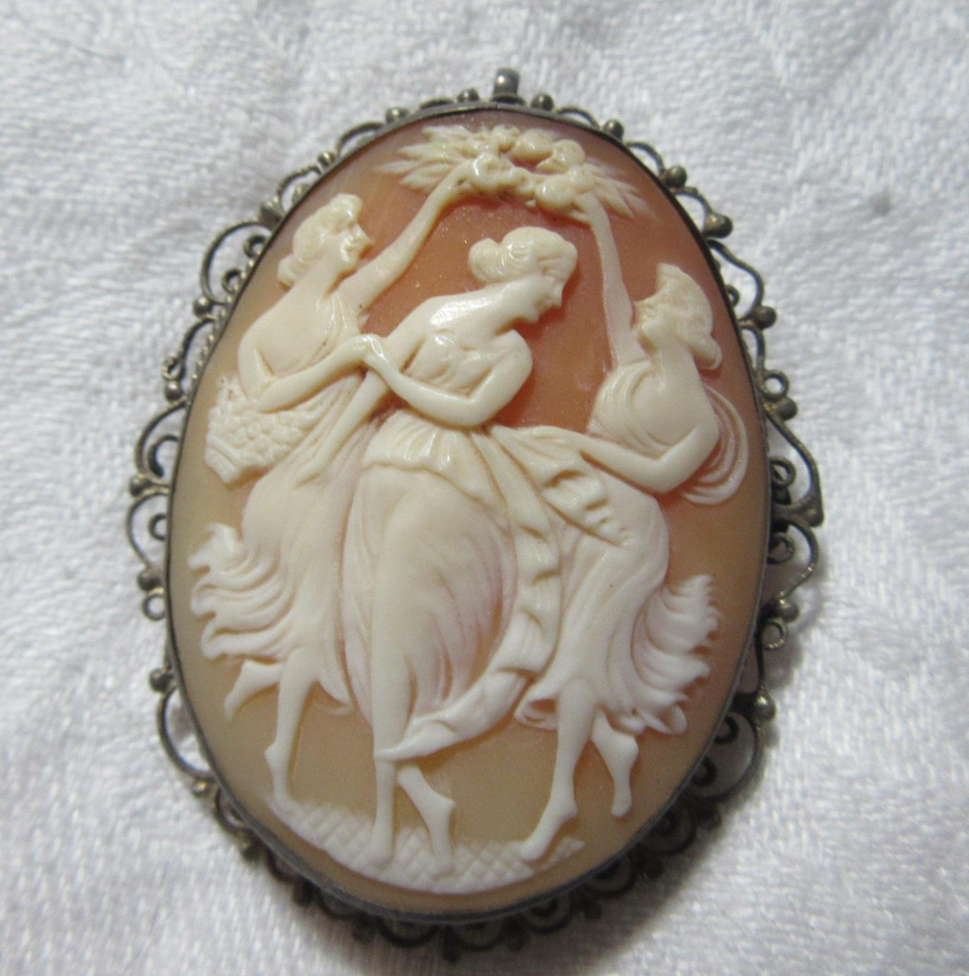 Three Graces Dancing Carved Shell Cameo Brooch Pendant Fine Jewelry