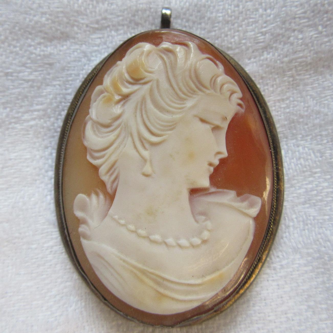 800 Silver Carved Shell Cameo brooch Pendant Fine Jewelry