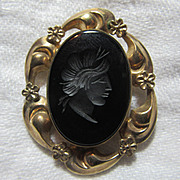 Winard Gold Filled & Black Onyx Cameo