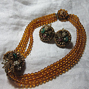 Miriam Haskell Demi Parure Necklace Earrings