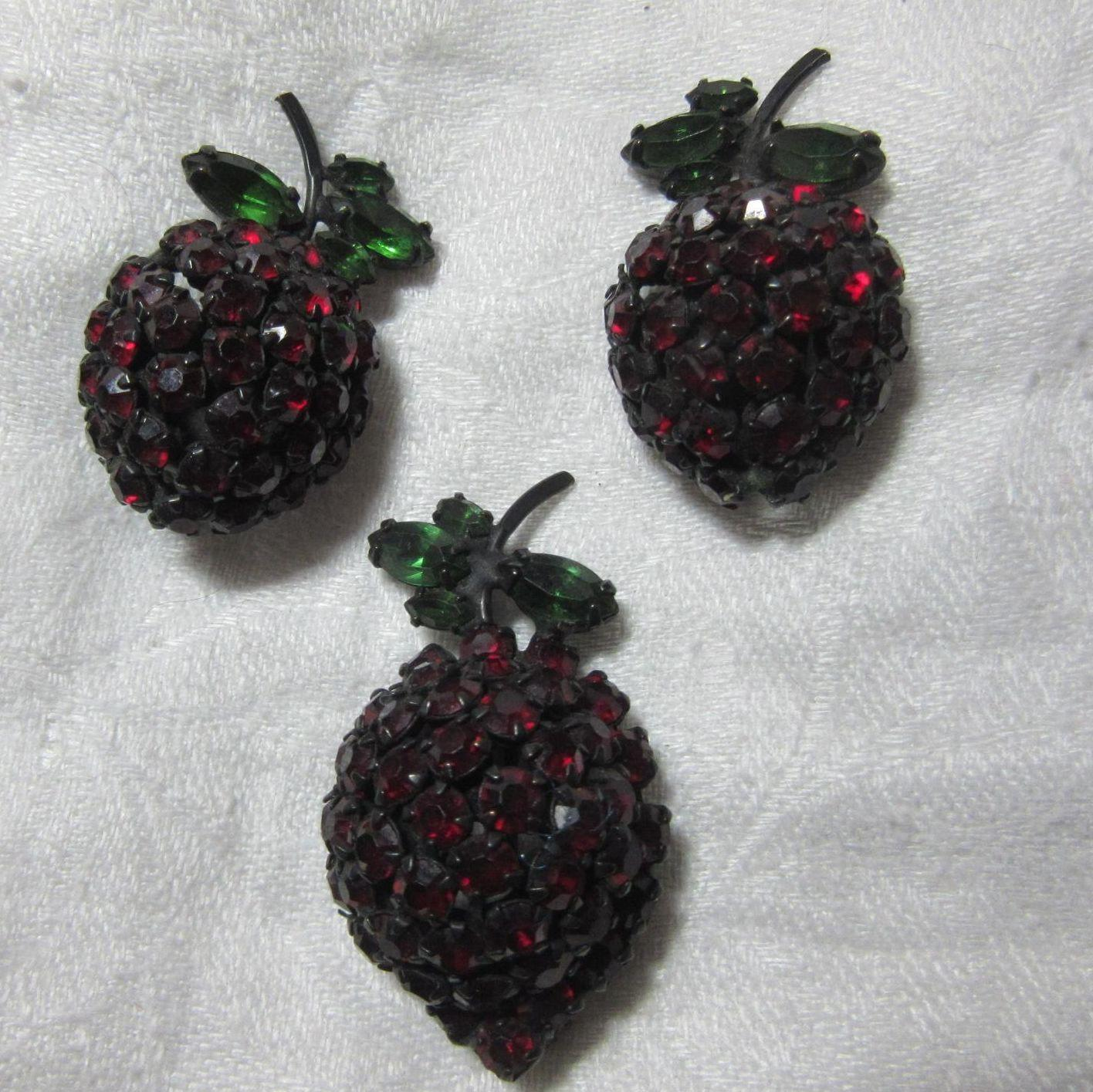 Warner  Red Rhinestone Cherries Pin Earring Set