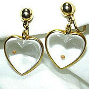 Glass Heart Mustard Seed Earrings