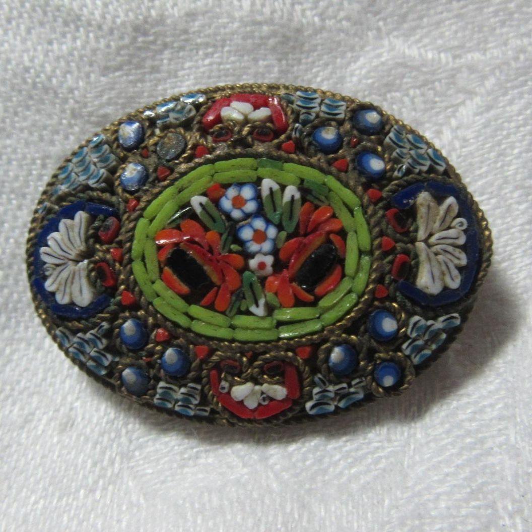 Old Italian Mosaic & Micro-mosaic Brooch