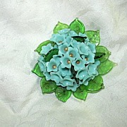 Miriam Haskell Blue Green Plastic & Glass Old Unmarked PIn Brooch
