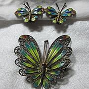 Enamel On 800 Silver Filigree Butterfly PIn & Earring Set Demi Parure