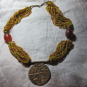 Seed Beaded Long Necklace with Labyrinth Pendant & Amber